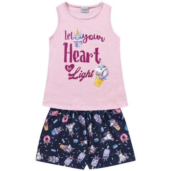 Conjunto Infantil Fakini Menina Verão Cupcake de Unicórnio Rosa Claro