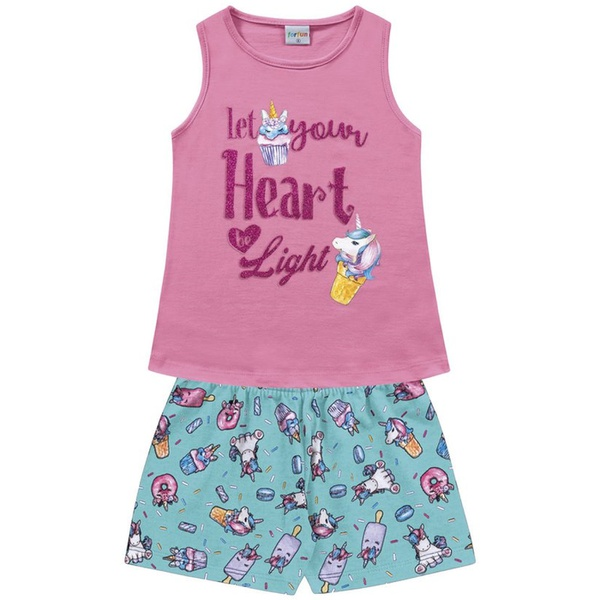 Conjunto Infantil Fakini Menina Verão Cupcake de Unicórnio Rosa Escuro