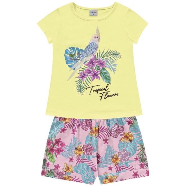 Conjunto Infantil Fakini Menina Verão Tropical Floral Amarelo/Rosa