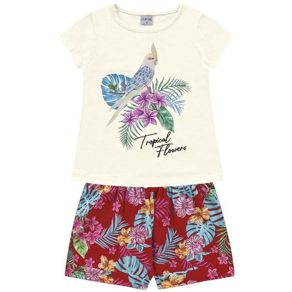 Conjunto Infantil Fakini Menina Verão Tropical Floral Marfim/Vermelho