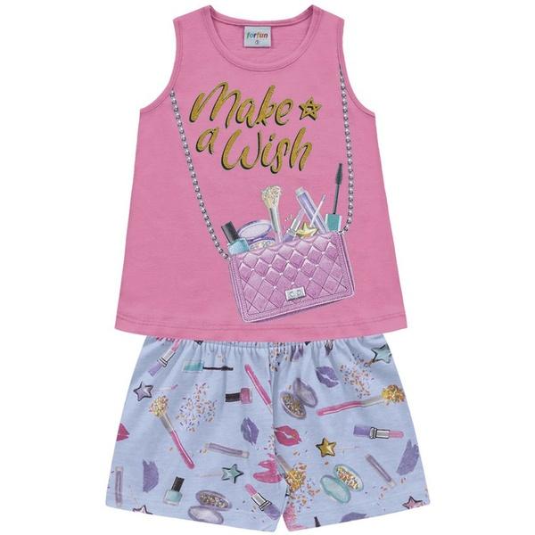 Conjunto Infantil Fakini Verão Menina Bolsa de Maquiagem Rosa