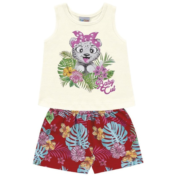 Conjunto Infantil Menina Verão Tropical Baby Marfim/Vermelho Fakini
