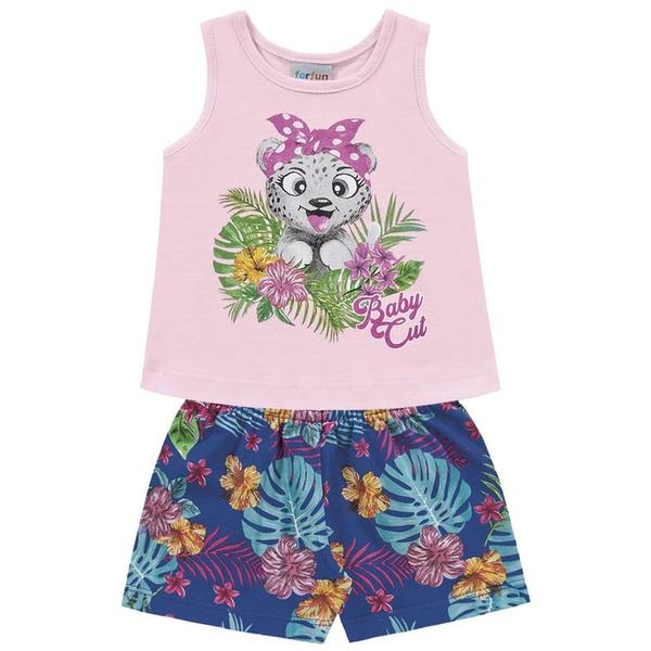 Conjunto Infantil Menina Verão Tropical Baby Rosa Fakini