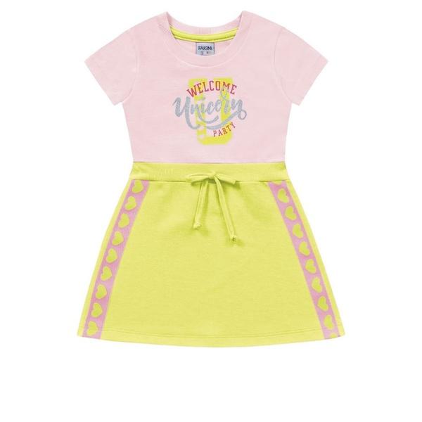 Vestido Infantil de Menina Verão Verde Neon Fakini