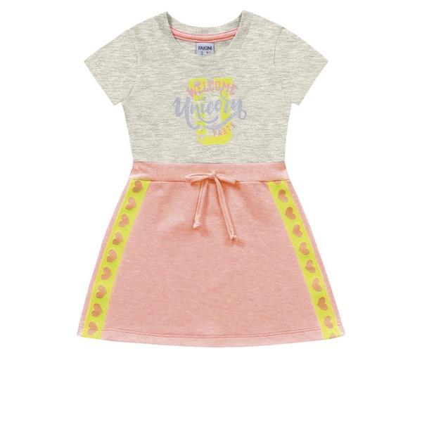 Vestido Infantil de Menina Verão Laranja Neon Fakini