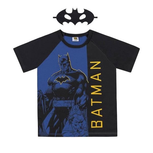 Camiseta Infantil Com Máscara do Batman Azul