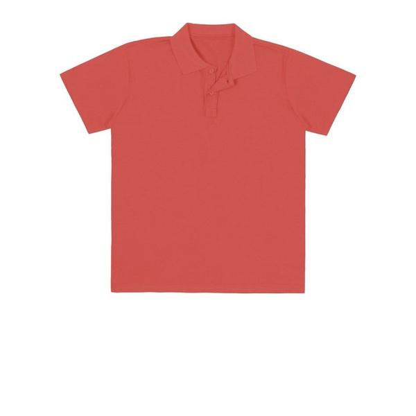 Camiseta Polo Juvenil Básica de Menino Laranja Fakini