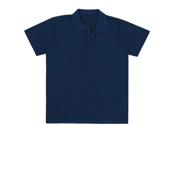 Camiseta Polo Juvenil Básica de Menino Azul Marinho Fakini