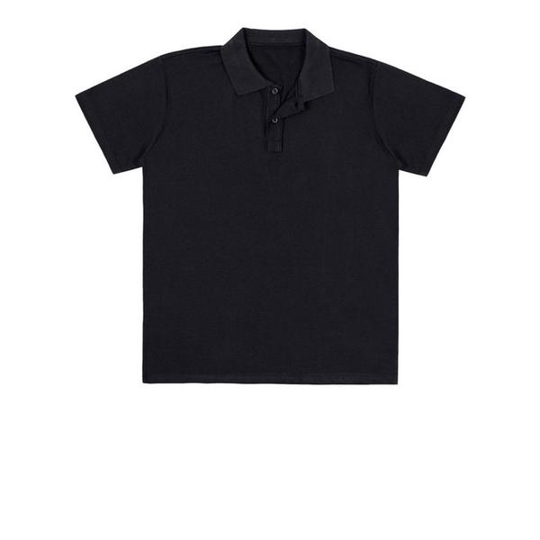 Camiseta Polo Juvenil Básica de Menino Preta Fakini