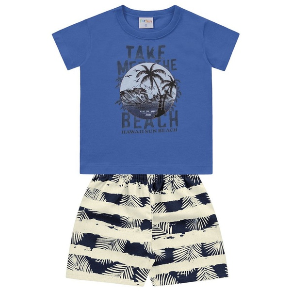 Conjunto Infantil Bebê Menino Camiseta Azul + Short Beach Hawaí