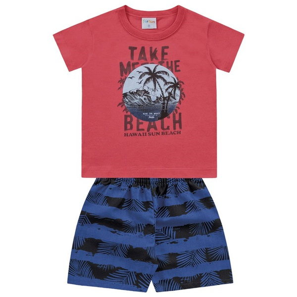 Conjunto Infantil Bebê Menino Camiseta Vermelha + Short Beach Hawaí