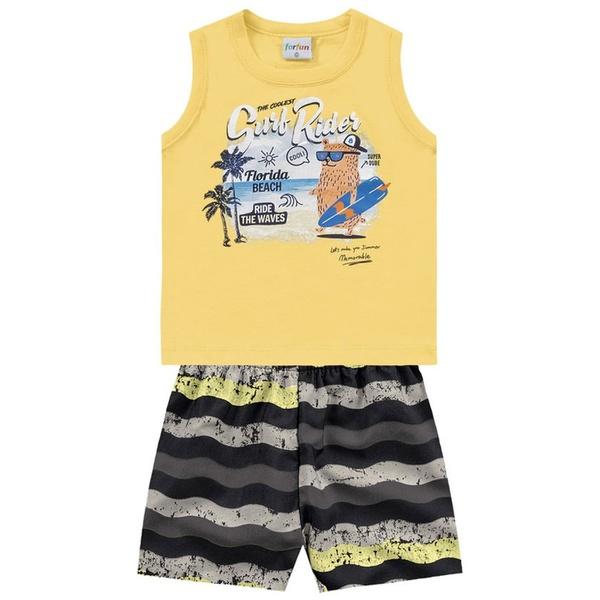 Conjunto Infantil Bebê Menino Regata Amarela + Short Florida Beach
