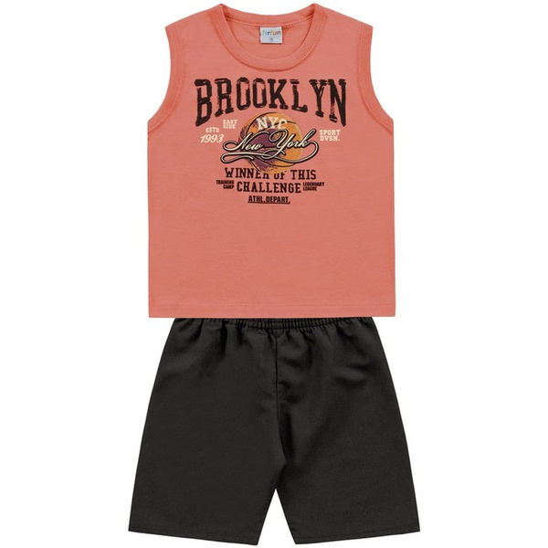 Conjunto Infantil de Menino Regata Laranja + Bermuda Brooklyn