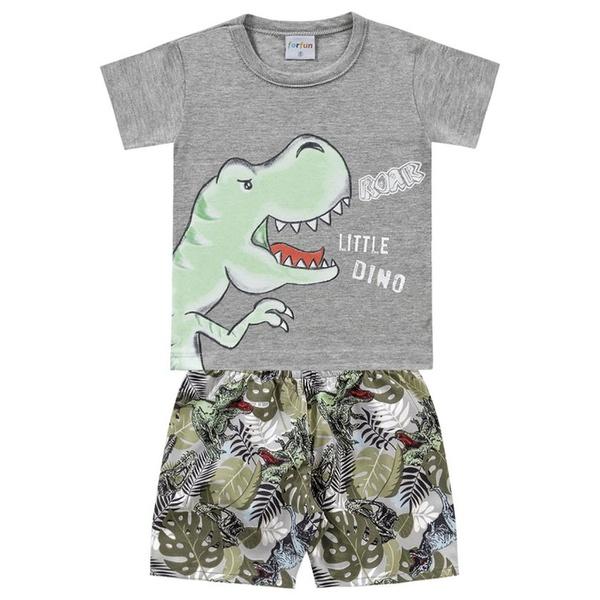 Conjunto Infantil Bebê Menino Camiseta Cinza + Short Dino