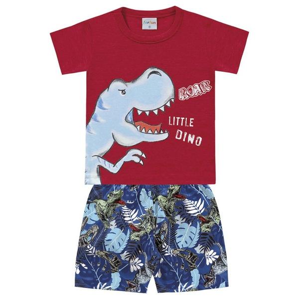 Conjunto Infantil Bebê Menino Camiseta Vermelha + Short Dino