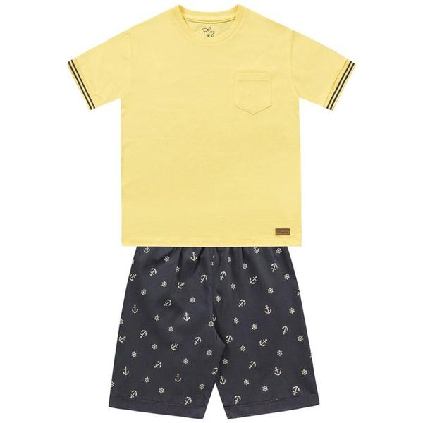 Conjunto Infantil de Menino Verão Camiseta Amarela e Bermuda Âncora
