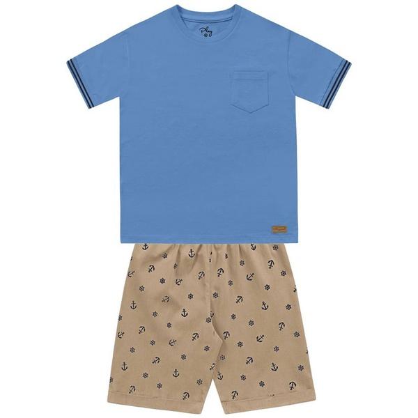 Conjunto Infantil de Menino Verão Camiseta Azul e Bermuda Âncora
