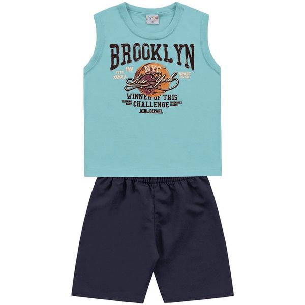 Conjunto Infantil de Menino Regata Branca + Bermuda Brooklyn