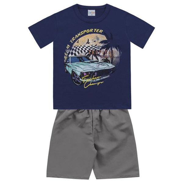 Conjunto Infantil de Menino Camiseta Azul Marinho Carro + Bermuda Tectel