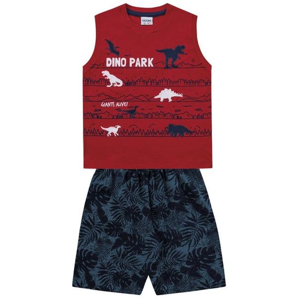 Conjunto Infantil de Menino Fakini Verão Regata Vermelha + Bermuda Dino Park