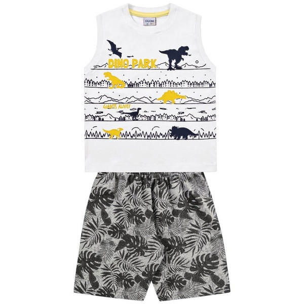 Conjunto Infantil de Menino Fakini Verão Regata Branca + Bermuda Dino Park