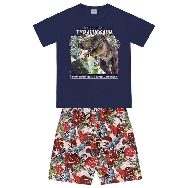 Conjunto Infantil de Menino Camiseta Azul Marinho + Bermuda Dinossauro Rex