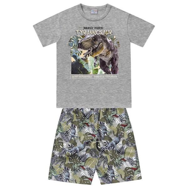 Conjunto Infantil de Menino Camiseta Cinza + Bermuda Dinossauro Rex