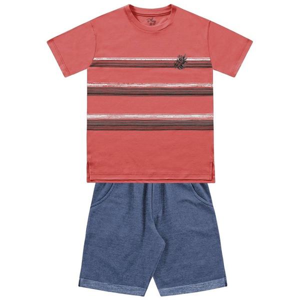 Conjunto Infantil de Menino FakinI Camiseta Listrada Laranja e Bermuda Moletinho