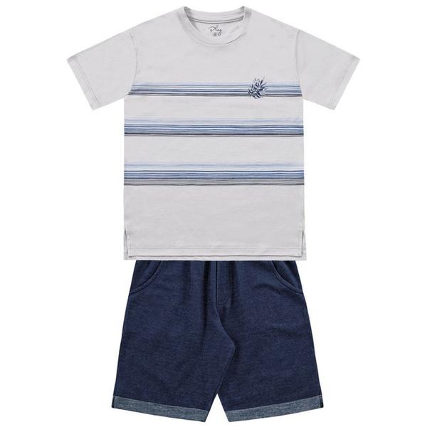 Conjunto Infantil de Menino FakinI Camiseta Listrada Cinza e Bermuda Moletinho