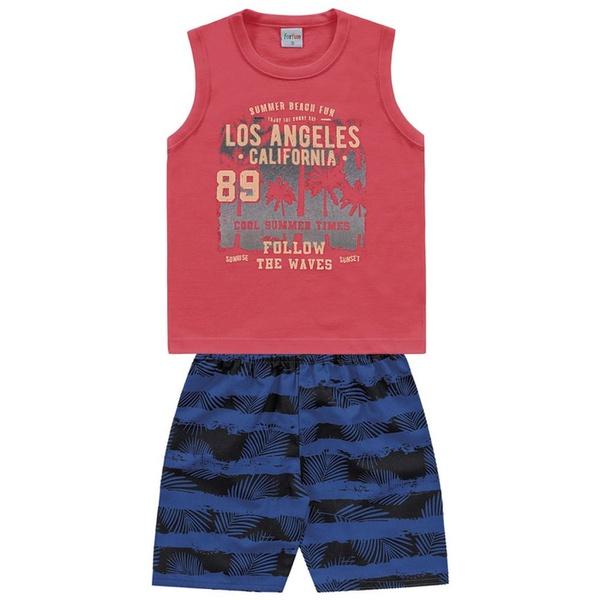 Conjunto Infantil de Menino Regata Vermelha + Bermuda Tectel Los Angeles
