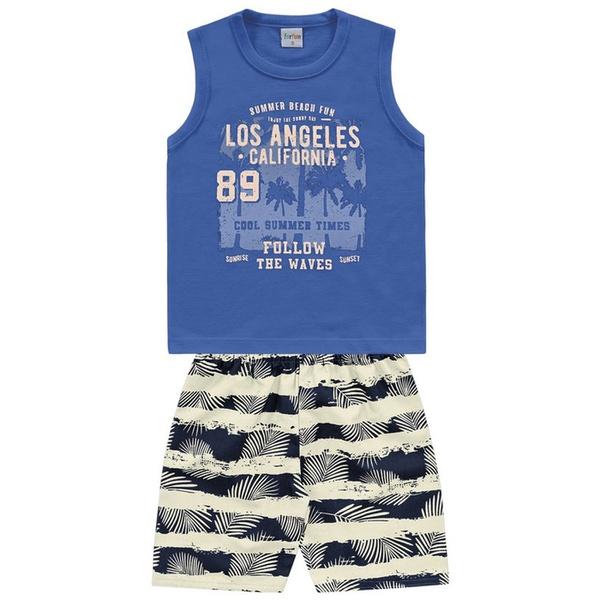 Conjunto Infantil de Menino Regata Azul + Bermuda Tectel Los Angeles