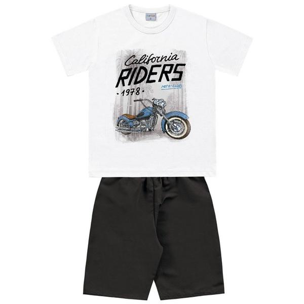 Conjunto Infantil de Menino Camiseta Branca Moto + Bermuda Tectel l