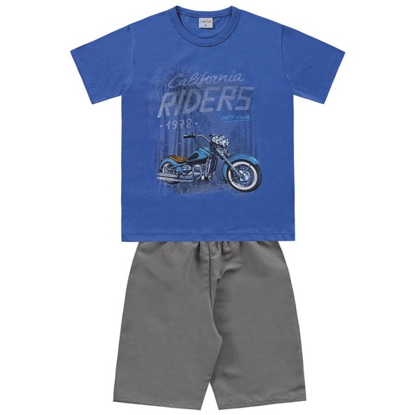 Conjunto Infantil de Menino Camiseta Azul Moto + Bermuda Tectel