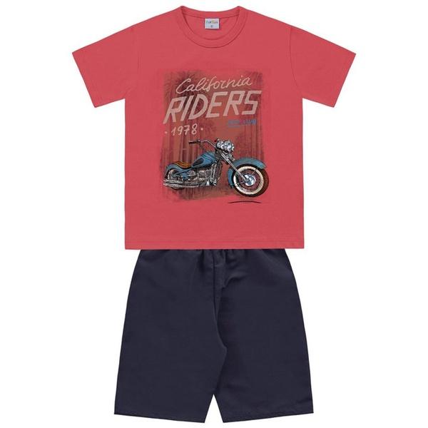 Conjunto Infantil de Menino Camiseta Vermelha Moto + Bermuda Tectel
