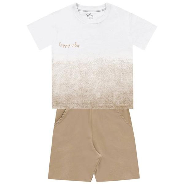 Conjunto Infantil de Menino FakinI Camiseta Happy Vibes e Bermudinha Bege