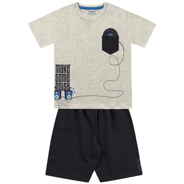 Conjunto Infantil de Menino Fakini Camiseta Musica + Bermuda Moletinho