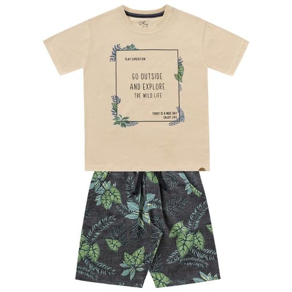 Conjunto Infantil de Menino Fakini Camiseta Baunilha Wild Life + Bermuda Estampada