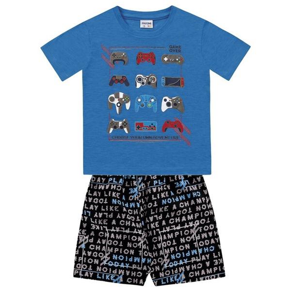 Conjunto Infantil de Menino Fakini Camiseta Azul + Bermuda Vídeo Game