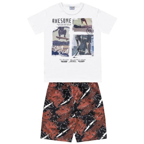 Conjunto Infantil de Menino Camiseta Branca + Bermuda Skate