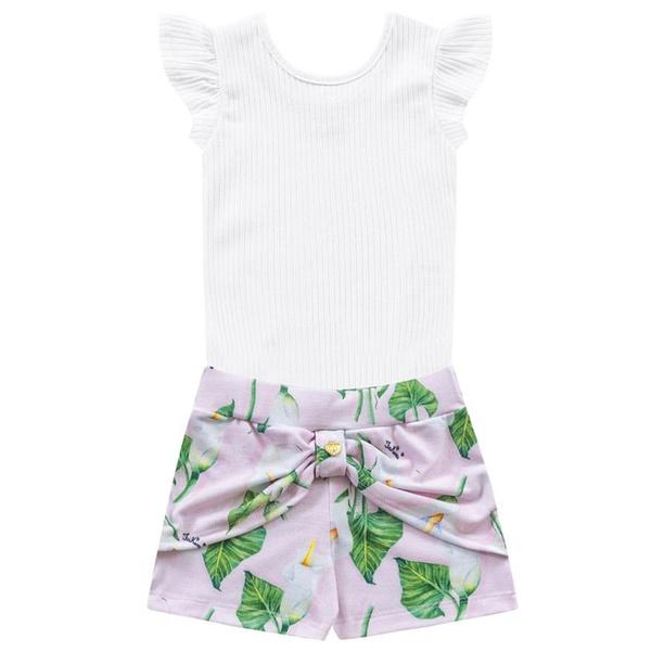 Conjunto Infantil Menina de Verão Body + Short Floral Branco