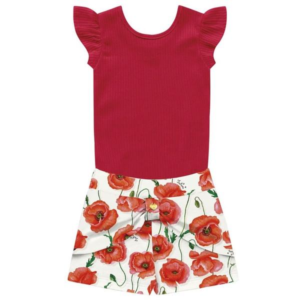 Conjunto Infantil Menina de Verão Body + Short Floral Vermelho