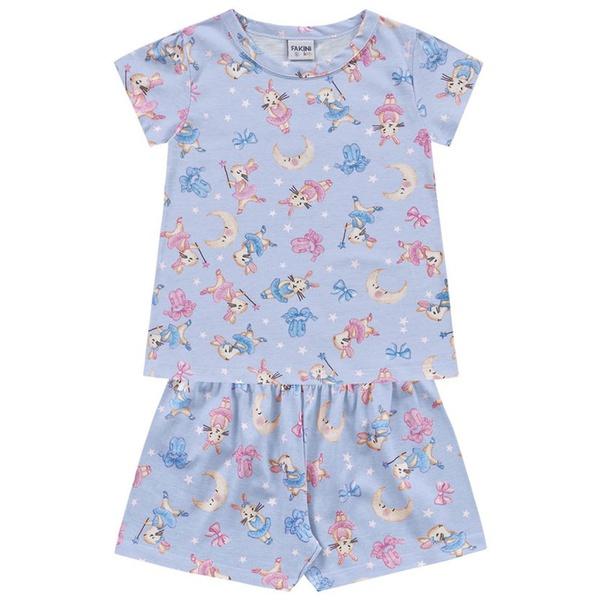 Conjunto Pijama Infantil de Menina Verão Blusa + Short Azul