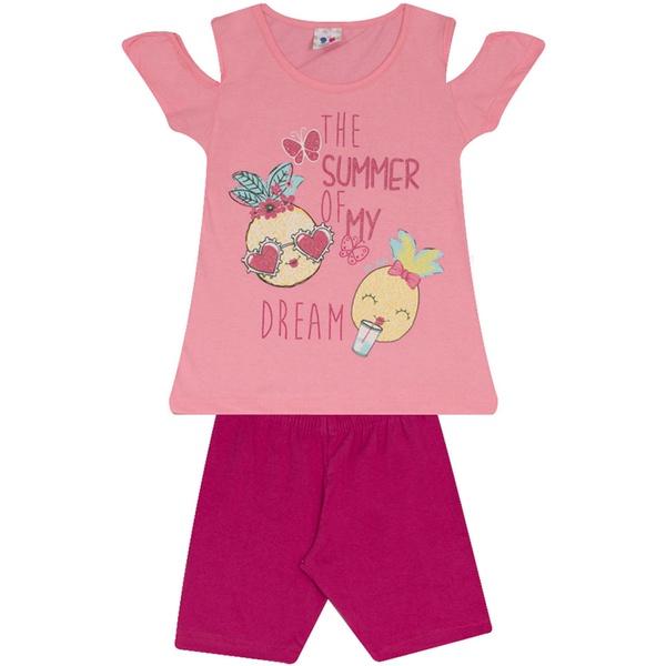 Conjunto Infantil Menina Blusa Rosa Summer Dreams e Short Pink