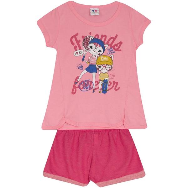 Conjunto Infantil Menina Blusa Friends Gatinhas Rosa e Short Pink