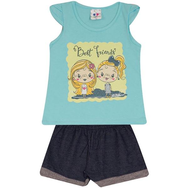 Conjunto Infantil Menina Blusa Best Friend Azul e Short