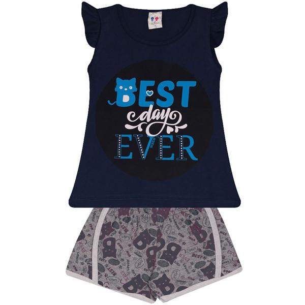 Conjunto Infantil Menina Blusa Best Day Marinho e Short Estampado