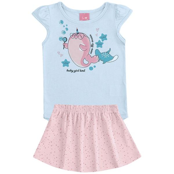 Conjunto Infantil Bebê Menina Body Azul e Saia Rosa