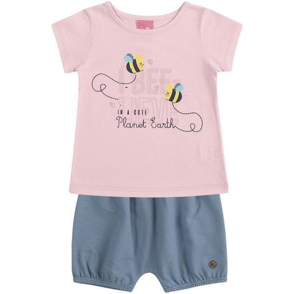 Conjunto Bebê Blusa Rosa Abelhinha + Short Cotton Azul