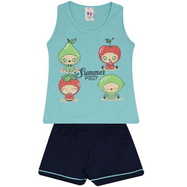 Conjunto Infantil Menina Blusa Frutas Azul e Short Marinho