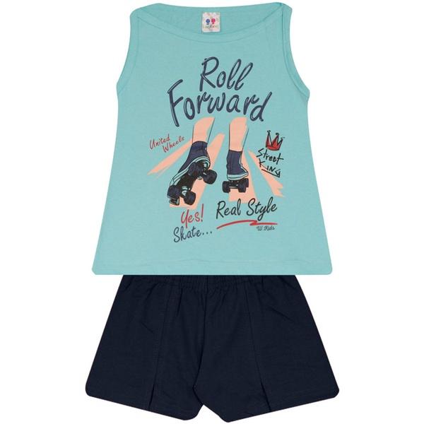 Conjunto Infantil Menina Blusa Roll Forward e Short Marinho